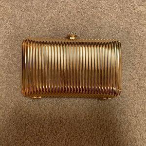 Nordstrom Gold Hardshell Clutch/Crossbody Bag